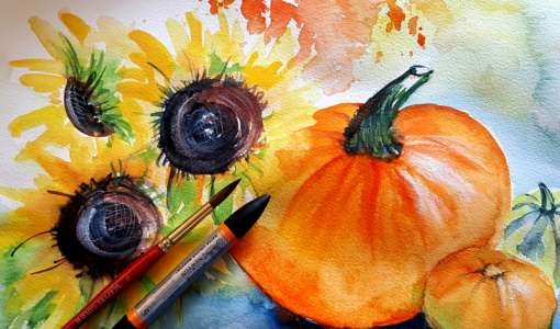 Herbstliche Arrangements in Aquarell
